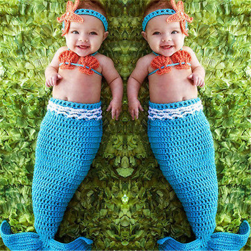 newborn photography props baby Costume Mermaid Infant baby photo props Knit fotografia newborn crochet outfits accessories girl