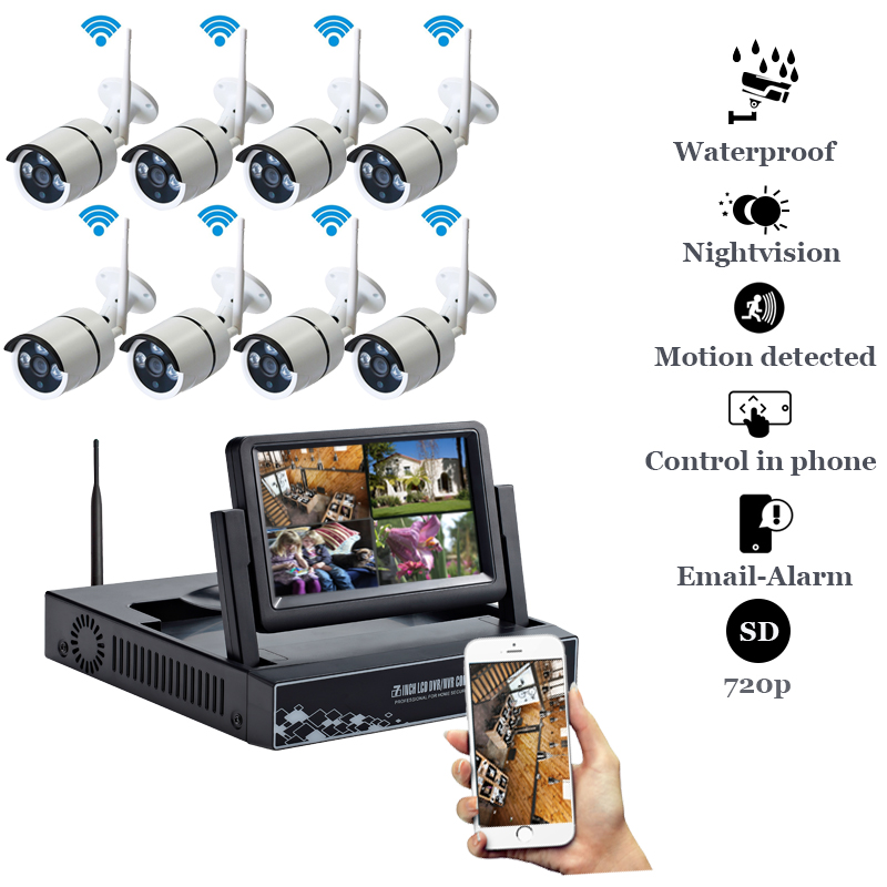Plug and Play 8CH 1080P HD Wireless NVR Kit P2P 720P 1MP Indoor Outdoor IR Night Vision Security IP Camera WIFI CCTV System escam wnk403 plug and play wireless nvr kit p2p 720p hd outdoor ir night vision security ip camera wifi cctv system
