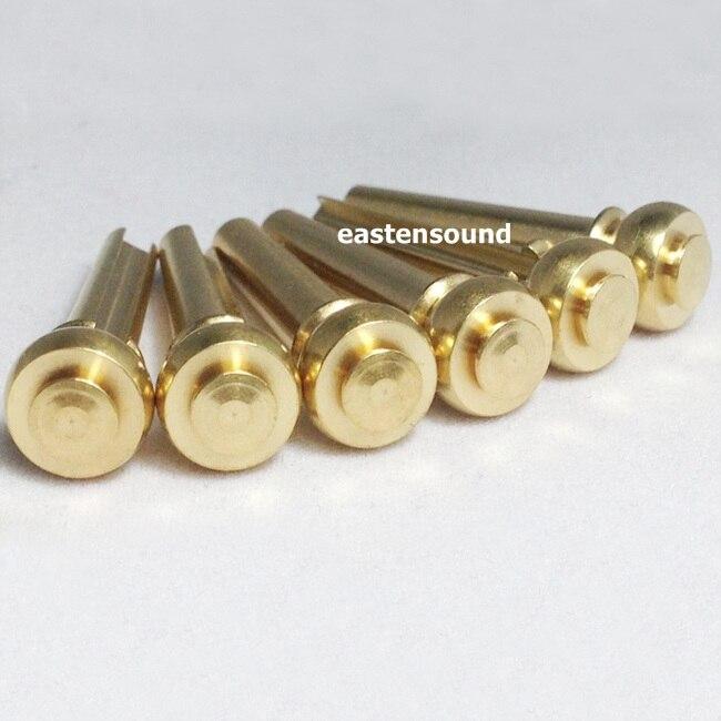 set 6 solid brass pin gold plated for acoustic guitar bridge string peg in guitar parts. Black Bedroom Furniture Sets. Home Design Ideas