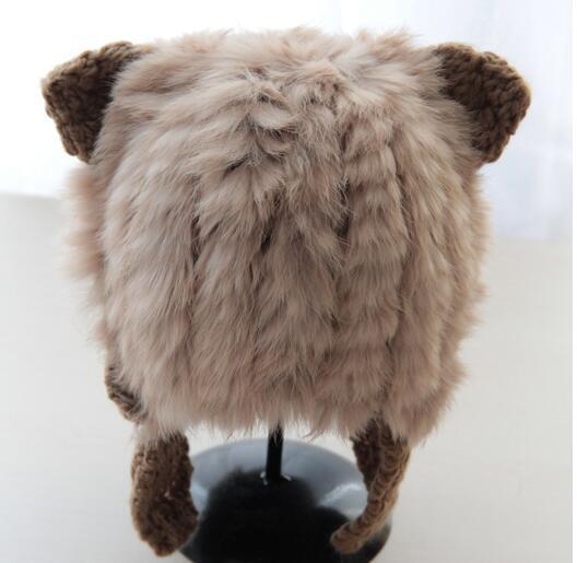 Новый бомбардировщик шляпы мода женщины шапки зимние глава украшения высокое качество реального кролика меховые шапки бежевый хаки цветов на выбор