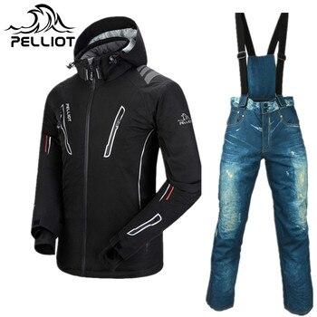 PELLIOT marca traje de esquí traje de los hombres de nieve chaqueta + Snowboard  pantalones de mezclilla impermeable espesar cálido Snowboard trajes de ... 215b29855b6