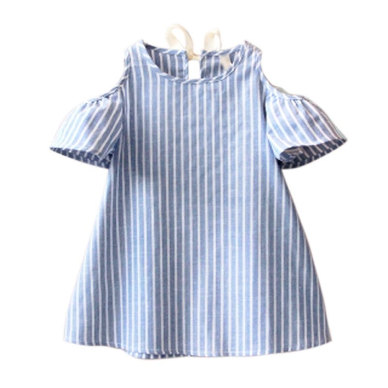 Newest Kids Girl Princess Dress Summer Striped Short Sleeve Mini Dresses Infantil Children Vestidos