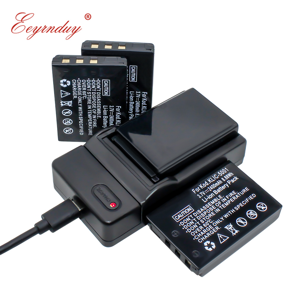 4 pièces K5001 batterie Rechargeable Lithium-Ion et chargeur USB KLIC-5001 pour Kodak DX6490 DX7630 P880 Z760 Z7590
