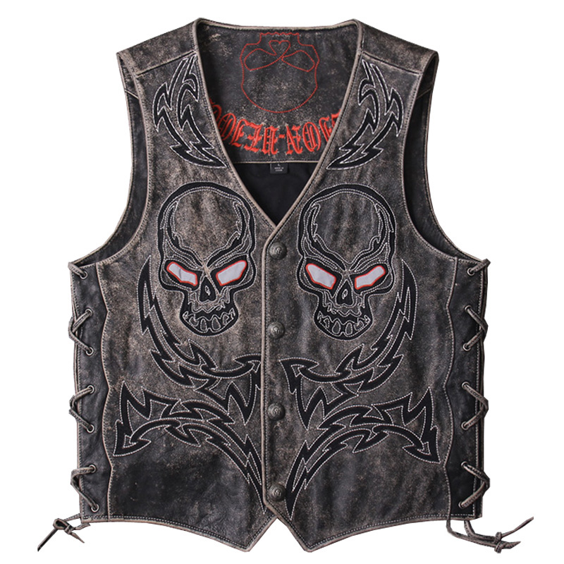 HARLEY DAMSON Vintage Black Men Skulls Embroidery Genuine Biker's Leather Vest Plus Size XXXL Slim Fit Short Cowhide Riding Vest