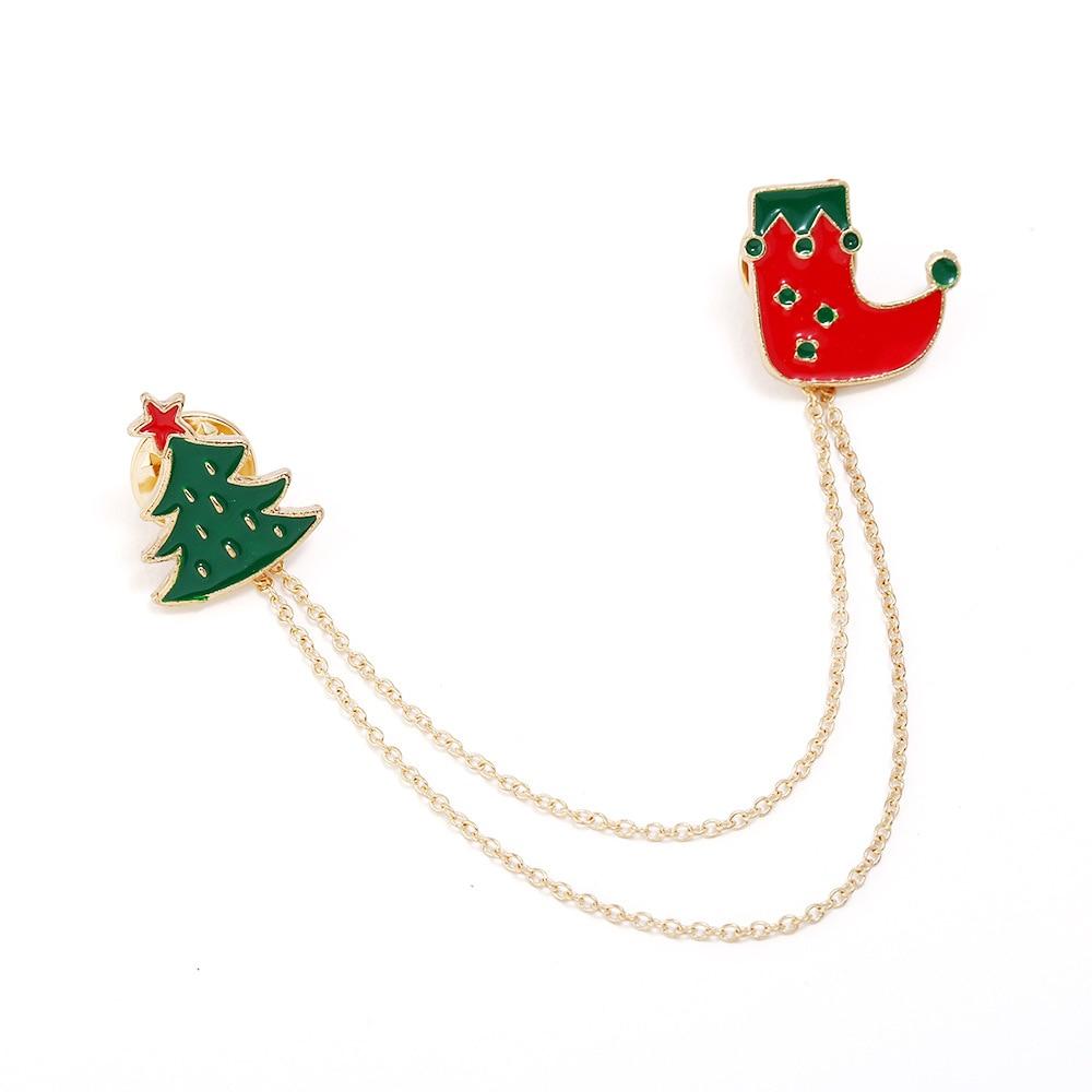 Christmas Brooch Santa Claus Christmas Tree Blazer Decoation Men's Xmas Party Cosplay Decoration Props