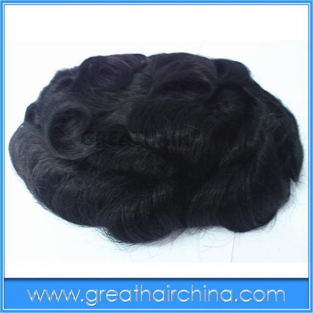 "free shipping 10"" x 7"" Brazilian Real Hair 25mm Curl Stock Men Toupee / Men's Wig/ Hair Replacement"