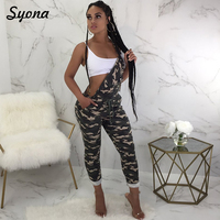 2018 Camo Suspender JUMPSUIT One Piece ROMPER For Women Long Pants Strappy Pocket Jumper Overalls Paysuits Camouflage Sleeveless