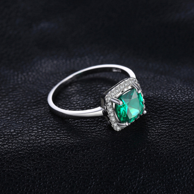 Solid Halo Emerald Ring