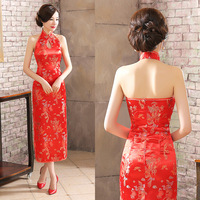 Backless Slim Women Long Cheongsam Dragon Chinese Traditional Dress for Wedding Party Compere Dresses Vintage Qipao Outfit 90