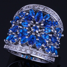 Very Good Huge Dark Blue Cubic Zirconia White CZ 925 Sterling Silver Ring For Women V0157