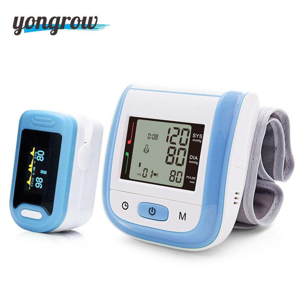 Yongrow Gift Fingertip Pulse Oximeter SpO2 And Wrist Blood Pressure Monitor Sphygmomanometer family health