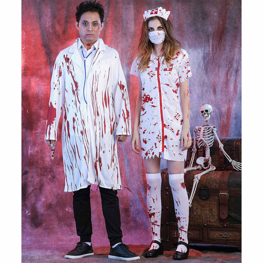 481af8a2d7aea ... Umorden Halloween White Bloody Zombie Nurse Costume Women Men Couple  Adult Scary Doctor Insane Surgeon Costumes ...