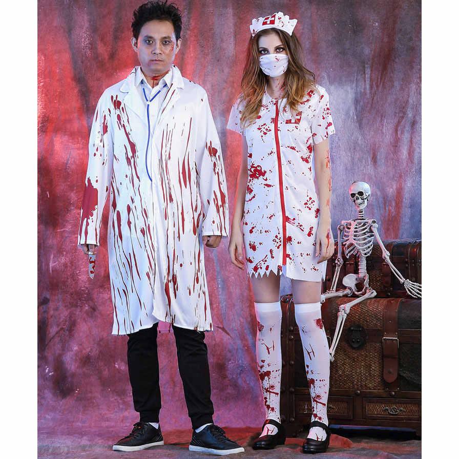 fe11030276196 ... Umorden Halloween White Bloody Zombie Nurse Costume Women Men Couple  Adult Scary Doctor Insane Surgeon Costumes ...