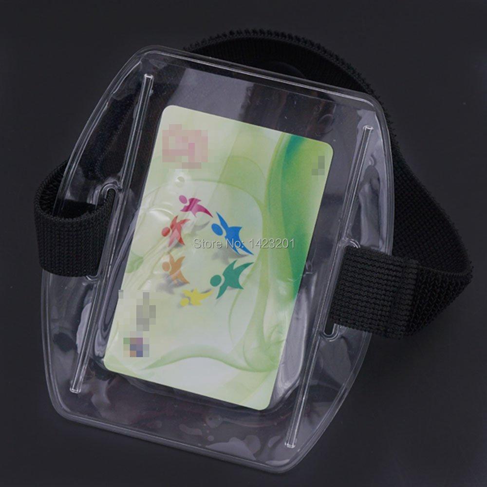 30 stks/partij Verticale Armband Id Naam Tag Card Foto Badge Houder + Zwarte Elastische Band Arm-in Opbergtassen van Huis & Tuin op  Groep 1