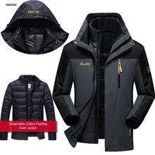 Direnjie мужские зимние Водонепроницаемый лыжах 3 в 1 куртка Открытый капюшоном Хлопок Подкладка пальто Кемпинг Пешие Походы Путешествия 6XL J15