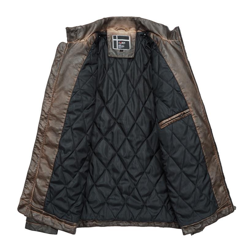 2019 nouveau rétro moto vestes en cuir synthétique polyuréthane hommes mode noir Multi poches veste mâle hiver chaud manteau-in Manteaux en cuir simili from Vêtements homme    2