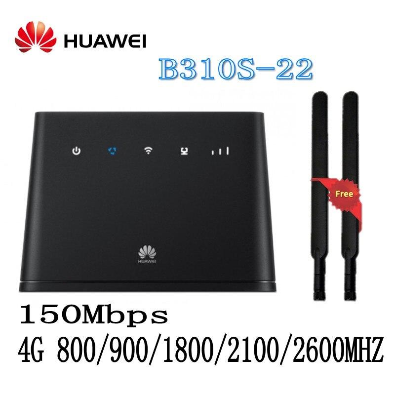 все цены на Unlocked HUAWEI B310 B310S-22 150Mpbs 4G LTE CPE Wireless Router Wiht Sim Card Slot Support B1 B3 B7 B8 B20 plus 2pcs Antenna