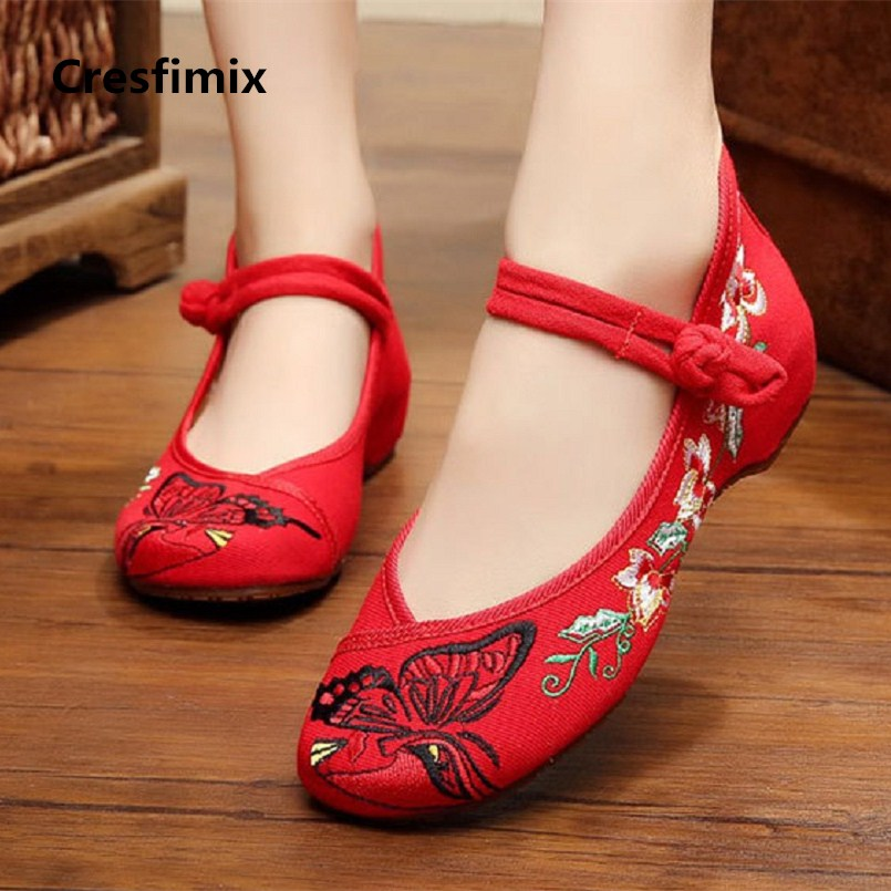 Cresfimix sapatos femininas women fashion 2018 high quality hemp buckle strap red shoes lady casual red embroidery shoes c2241 женские блузки и рубашки hi holiday roupas femininas blusa blusas femininas