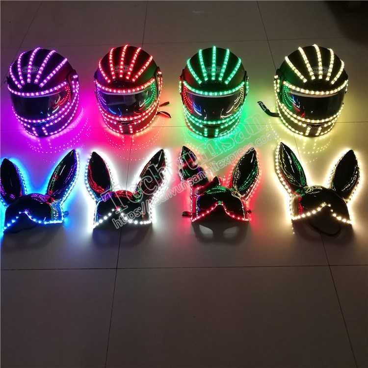 FREE Colorful Led luminescence remote control Rechargeable RGB Luminescent helmet Performing props Rabbit mask Bar Nightclub