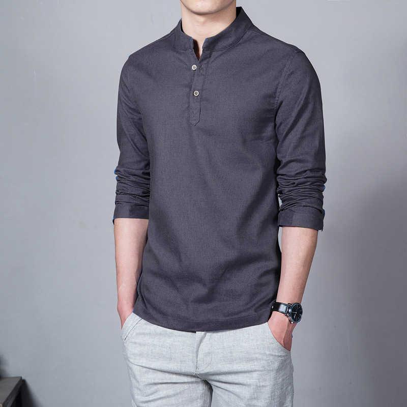 コットンリネン男性の長袖シャツトップ白スタンド襟の男プラスサイズ 5XL 夏ストリート男性服