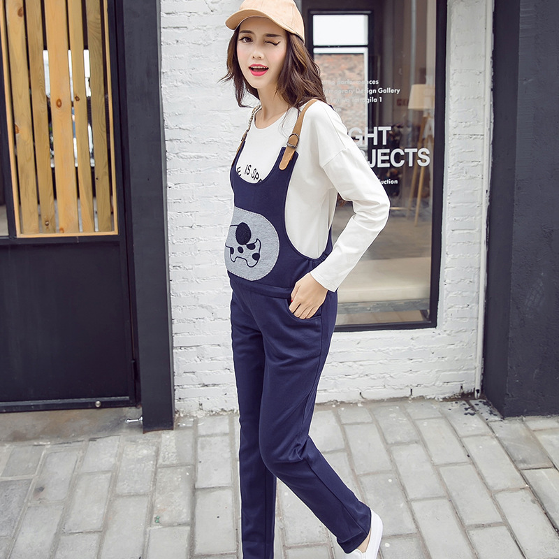 Adjustable Maternity Cartoon Overalls for Pregnant Women New Plus Size Pink Navy Blue Color 2017 Autumn Cotton Pants Premama inc new navy blue women s size 16 gathered hem linen capri cropped pants $69