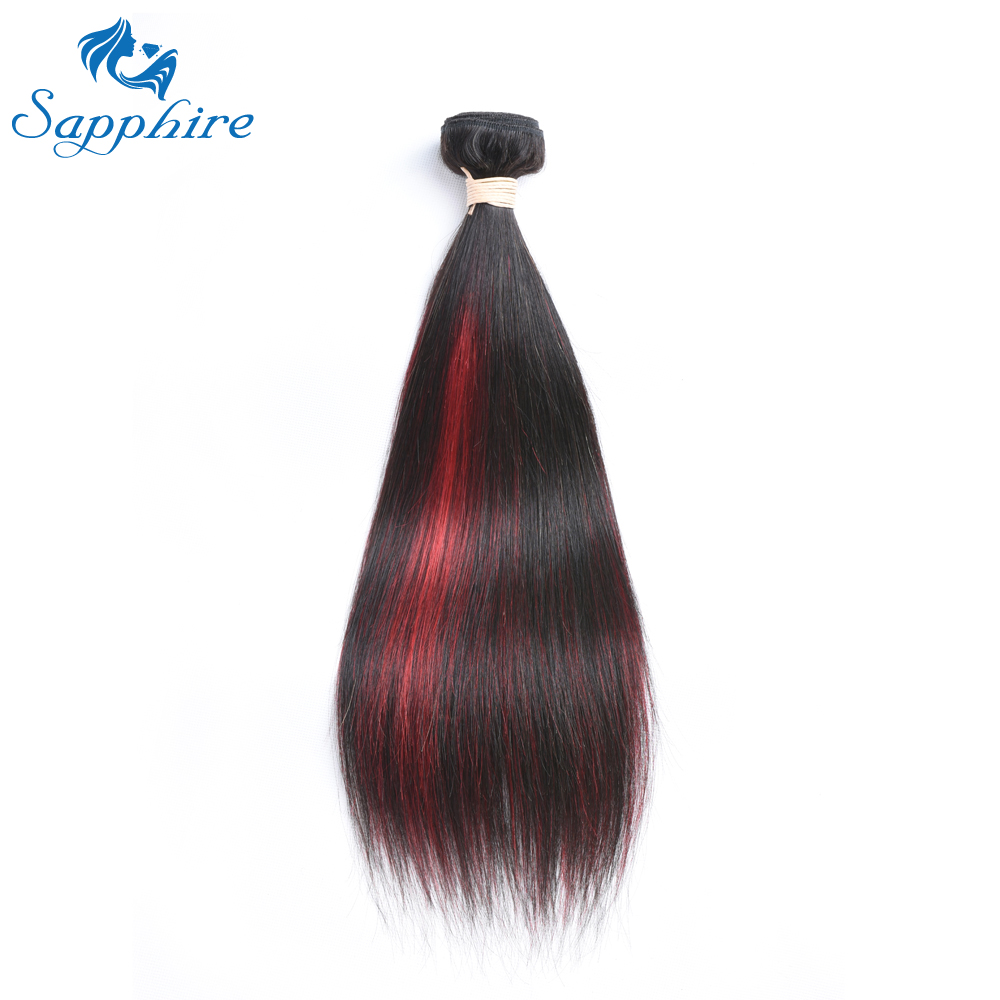 Sapphire Straight Virgin Hair Extension Brazilian Hair Weave Bundles For Hair Salon 10-24 inches Red Balayage Dark Hair Bundles