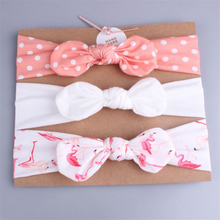 2019 Hot Fashion 3Pcs Newborn Baby Girls Infant Toddler Flower Bow-knot Headband Hair Band Accessories Cotton Elastic Headwear