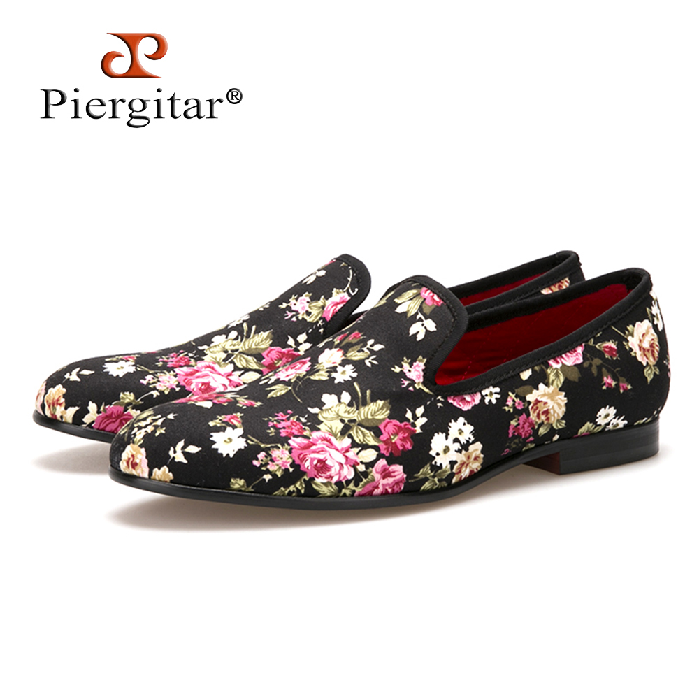Piergitar New Handmade Flower Men Canvas Shoes China Style Men Wedding and Party Loafers Men Flats Size US 4-14 Free shipping piergitar new british style gingham gray handmade men s flats men slip on party and prom loafers men casual shoes size 4 17