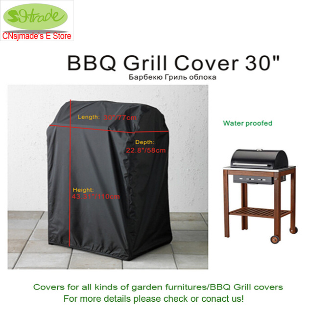 Bbq Grill Cover Protective 77x58x110h Balck Color Waterproofed Furniture Patio