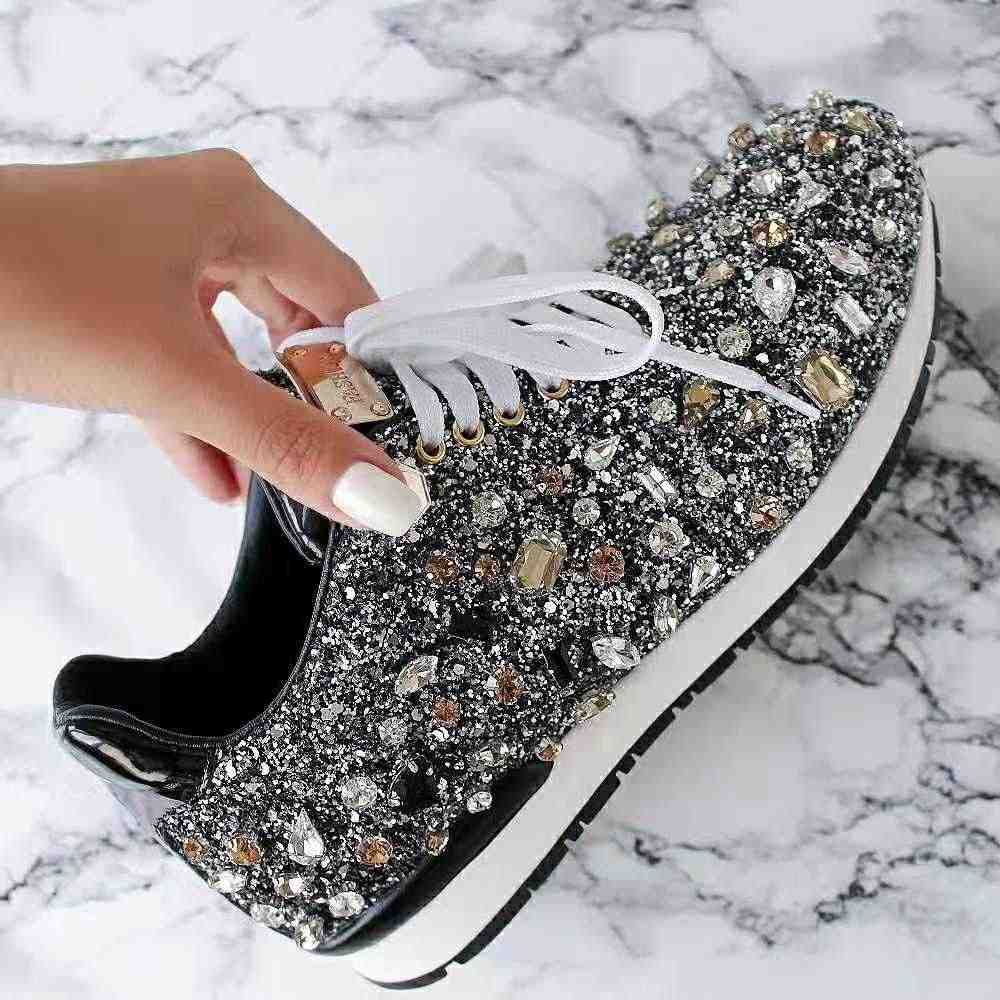 2f5c762300 Prova Perfetto rhinestone flat shoes woman sneakers lace up shoes fashion  crystal paillette casual shoes woman zapatos de mujer
