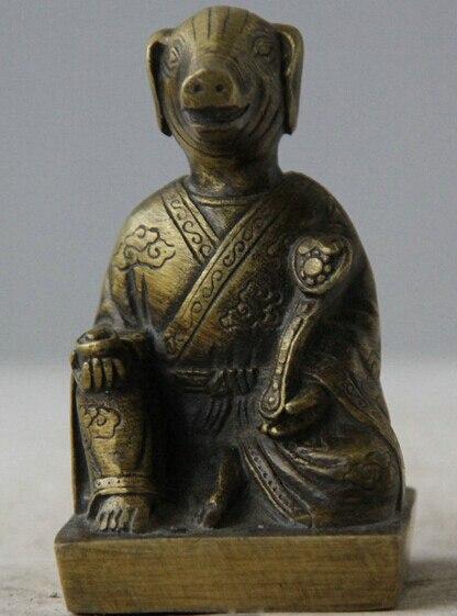 184 ز + الثروة الخنازير خنزير خنزير زودياك السنة الصينية الشعبية النحاس القديم رو يي تمثال النحت-في تماثيل ومنحوتات من المنزل والحديقة على title=