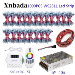 200-1000 PCS 50 stks/partij WS2811 Module Programmeerbare Kleurrijke Waterdichte IP68 Lamp Kralen + ColorfulX2 Led Controller + 5 V Voeding