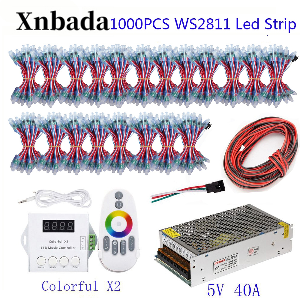200-1000PCS 50pcs/lot WS2811 Module Programmable Colorful Waterproof IP68 Lamp Beads +ColorfulX2 Led Controller +5V Power Supply