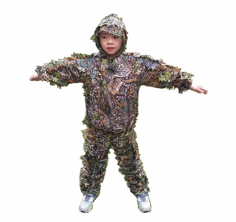 fe54b371bd9d Новый дизайн, детские костюмы с объемным Кленовым листом Bionic ghillie, камуфляжная  одежда для охоты