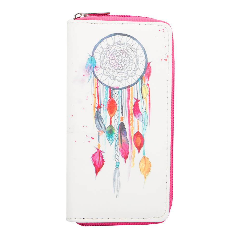 Sansarya New Fashion Dream Catcher Feathers Printed Long PU Leather Women Wallet Coin Purse Girls Card Holder Female Money Bag цена и фото