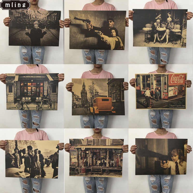 mling 51.5x36cm 1PC Kraft Paper Landscape Poster Collection Livingroom Bedroom Home Decor Retro Landscape Wall Sticker