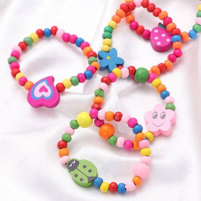 10pcs Natural Wood Kids Elastic Wooden Beads Bracelets Children Girls Party Gift (Random Color) 2