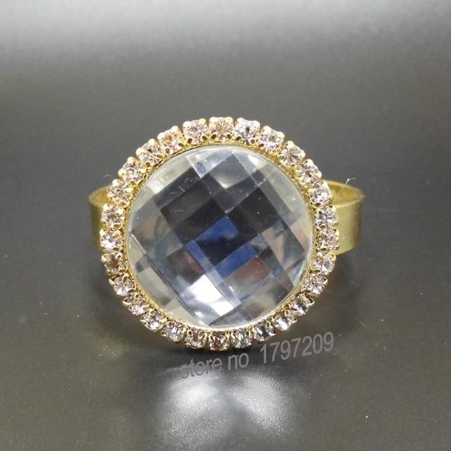 12 Pcs Lot Diamond Gem Napkin Ring Serviette Holder Wedding Party Decor Craft