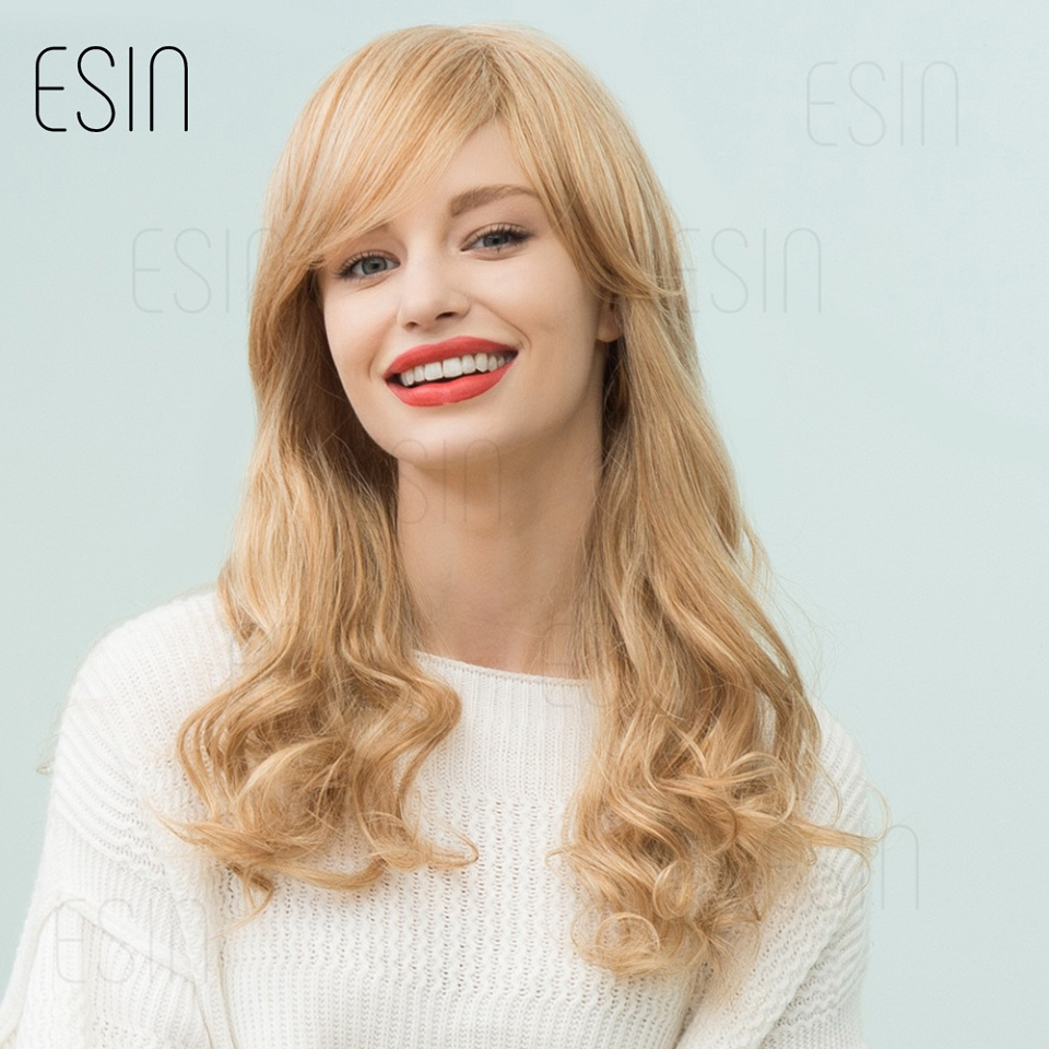 ESIN 24 Inch Blonde Long Hair Wig Synthetic 70% Natural Hair Body Wave Fluffy Layered Hairstyle with Bang White Women Blend Wig