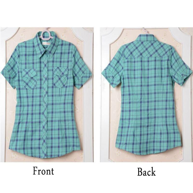 Yaz Pamuk Ekose Kadın Gömlek Kısa Kollu Kadın Bluzlar Tops Kolej - Bayan Giyimi - Fotoğraf 4