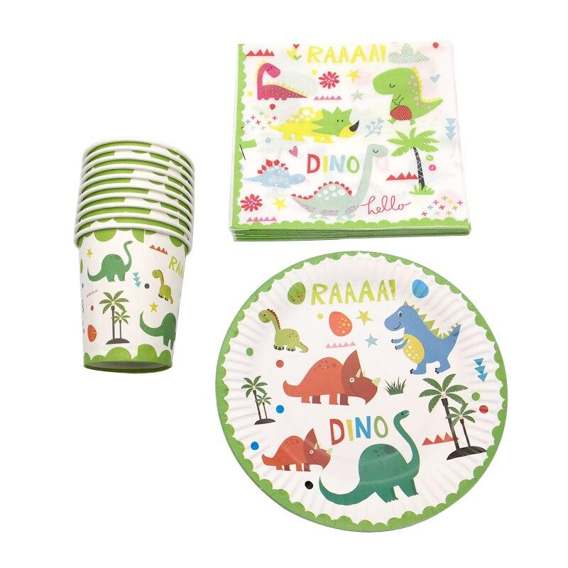 60PCS/lot Happy Birthday Party Napkins Cartoon Dinosaur Theme Tableware Set Baby Shower Plates Decorations Cups Glass Towels