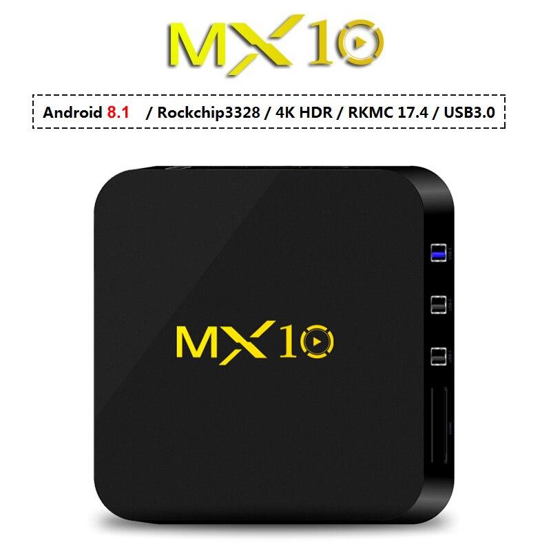 4 ГБ оперативной памяти 32 ГБ Rom Smart ТВ коробка Android8.1 RK3328 4 ядра ТВ коробка 3D 4 К HDR потокового мультимедиа плеер Wifi USB 3,0 4 г 32 г MX10