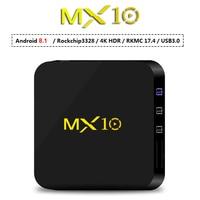 4GB Ram 32GB Rom Smart TV Box Android8.1 RK3328 Quad Core TVbox 3D 4K HDR Streaming Media Player Wifi USB 3.0 4G 32G MX10