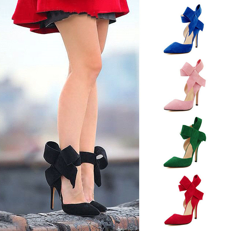 Sexy Nightclub Ladies Big Bow Shallow Mouth Pointed High Heels Fashion Wedding Shoes Stiletto Hollow Women's Shoes Bowknot