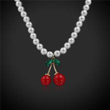 Vintage 9MM White Beads Chain Necklace Cute Red Cherry Pendant Women Necklace Jewelry mom/wife/woman/Female Best Gift(China)