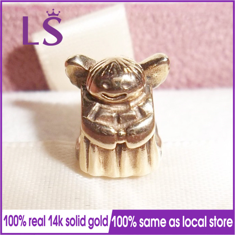 LS New 100% 1.4.k Real G.old Angle of Hope Charms Fit Original Bracelets Pulseira Charm Berloque 925 100%Original Fine Jewelry N original nl6448ac30 10 nl6448ac33 13 ltm10c042