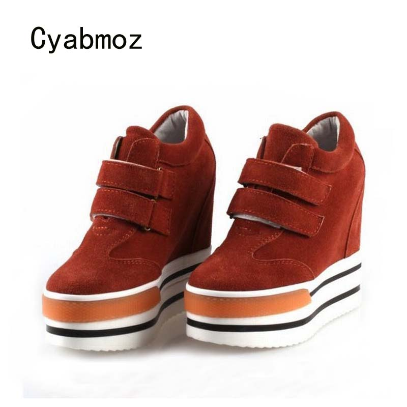 Cyabmoz Women Shoes Genuine leather Woman Platform Wedge High heels Height increasing Ladies Shoes Zapatos mujer Tenis feminino цена и фото