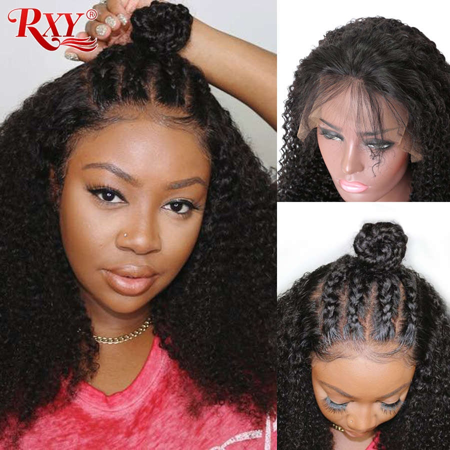 360 Lace Frontal Wig Pre Plucked With Baby Hair Peruvian Kinky Curly Human Hair Wig For Black Women Deep Parting RXY Remy Wigs