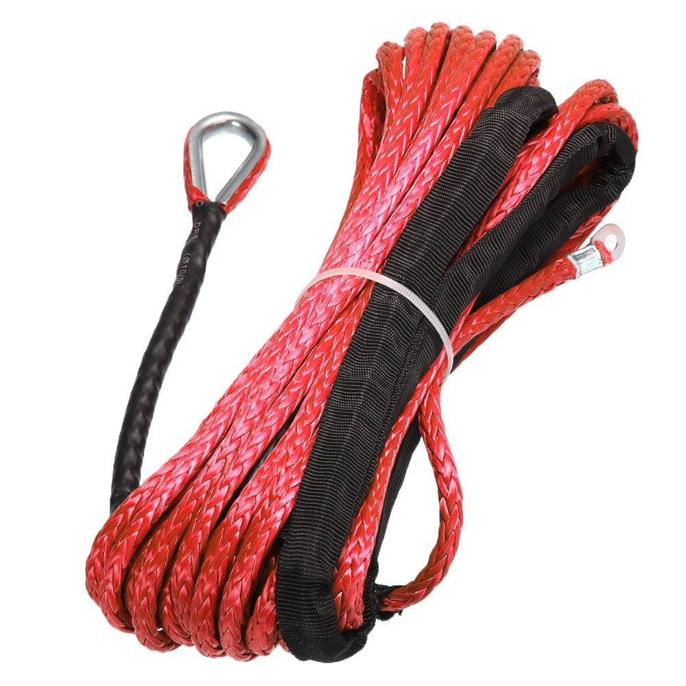 Image 2 - New Arrivals 15m*6mm 7000lbs Red Winch Rope Synthetic Cable Line With Hook For ATV UTV Off Road-in Towing Ropes from Automobiles & Motorcycles