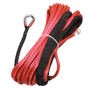 Image 2 - New Arrivals 15m*6mm 7000lbs Red Winch Rope Synthetic Cable Line With Hook For ATV UTV Off Road